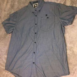 Blue Button Up G Star Raw Short Sleeve Shirt